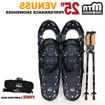 """New MTN 25"""" Black All Terrain Snowshoes +Nordic pole+ Free"""