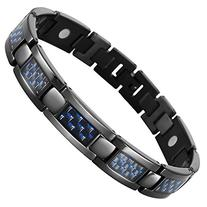 Blue Carbon Fiber Titanium Magnetic Bracelet Adjustable By