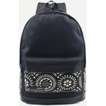 Black Tribal Print Front Pocket Canvas Backpack