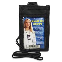 Black VERTICAL ID Neck Pouch With Adjustable Lanyard