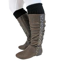 Luxury Divas Black Warm Knit Boot Cuff Topper Liner Leg