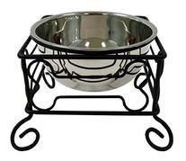 YML 10-Inch Black Wrought Iron Stand with Single Stainless