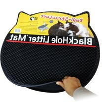 Moonshuttle Black Hole Cat Litter Mat, Headshape, Dark Gray