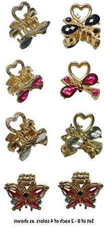 Set of 8 Bling Bling Mini Metal Jaw Clip Decorated with