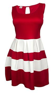 eVogues Plus size Color Block Flare Mini Dress Red White -