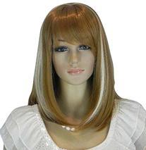 Diy Women's Medium Size Blonde and White Color Oblique Bangs