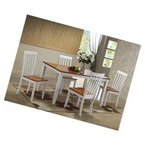 Boraam Bloomington 5 Piece Dining Set - White & Honey Oak