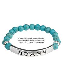 Blue Beads Peace Friendship Silvertone Stretch Bracelet &
