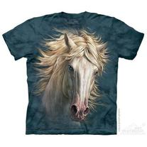 The Mountain Blue 100% Cotton White Horse Portrait Novelty T