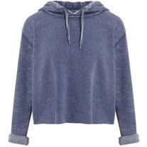 Miss Selfridge Blue Cropped Hooded Sweatshirt