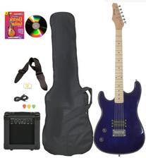 Blue Full Size Electric Guitar & Practice Amp with Case