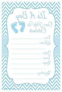 Blue Baby Feet - Boy Baby Shower Invitations - Fill In Style