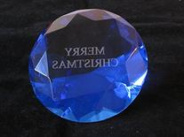 Blue Glass Diamond Shaped Paperweight 4 Inches Engrave With