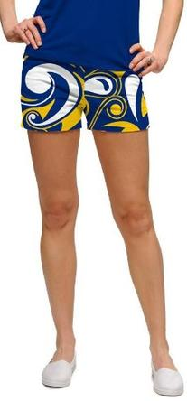 Blue and Gold Splash Loudmouth Womens Golf MINI Shorts