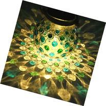 Sogrand Blue Green Diamond Solar Glass Jar,Solar Lights