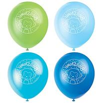 "12"" Latex Blue Monkey Baby Shower Balloons, 8ct"