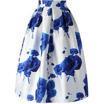 Chicwish Blue Roses Printed Midi Skirt