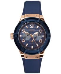Guess Women's Blue Silicone Strap Watch 39mm U0571L1