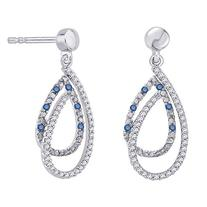 Blue and White Diamond Fashion Earrings in 10K White Gold