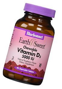 Bluebonnet Earth Sweet Vitamin D3 5000 IU Chewable Tablets,