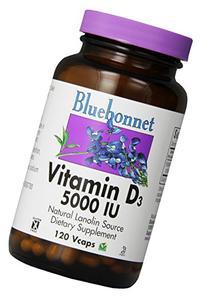 Bluebonnet Vitamin D3 5000 IU Vegetable Capsules, 120 Count
