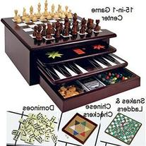 Board Game Set - Deluxe 15 in 1 Tabletop Wood-accented Game Center with Storage Drawer