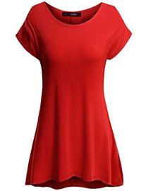 Doublju Women Basic Short Sleeve Round Neck Loose Fit