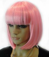 Diy Women's Medium Bob Syle Pink Neat Bangs Straight Heat-