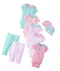 Gerber Baby Girls' 9 Piece Bodysuits Gift Set, Pink,Bodysuit