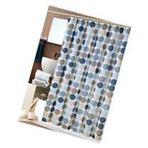 Bold Blue Circles Fabric Shower Curtain with Hooks