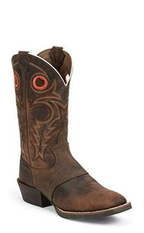 """Justin Boots Men's Silver Collection 12"""" Western, Brown, 9.5"""