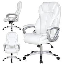2xhome - White - Deluxe Professional PU Leather Big Tall