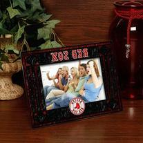 Boston Red Sox Navy Blue-Red Art-Glass Horizontal Picture