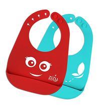 ZIZU BPA Free Waterproof Silicone Baby Bibs, Red
