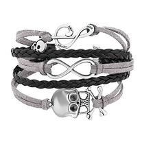 Gray Black Braided Leather Wrap Bracelet Sideways Infinity