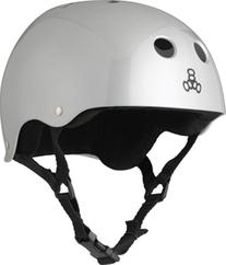 Triple Eight Helmet with Sweat Saver Liner, Silver Metallic