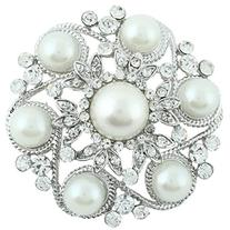 EVER FAITH® Bridal Silver-Tone Leaf Flower Simulated Pearl