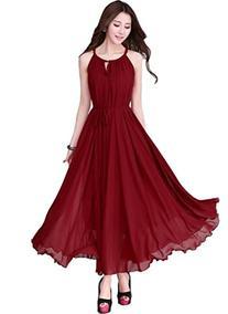 Medeshe Brief Elegant Burgundy Red Chiffon Boho Maxi Dress