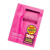 Amscan Big Party Pack 100 Count Mid Weight Plastic Spoons,