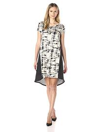 Kensie Women's Broken Stripes Dress, Sesame Combo, Large