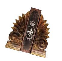 """Bronze Color Fleur De Lis Bookend Set 8"""" Inches Golden"""