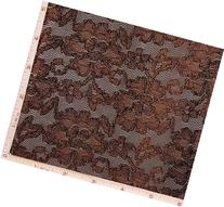 Brown Flower Embroidery Lace Fabric 4 Way Stretch Nylon