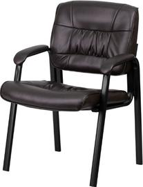Brown Leather Guest / Reception Chair with Black Frame