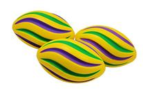 Bulk Mardi Gras Swirl Footballs 7in 3 colors 30 footballs