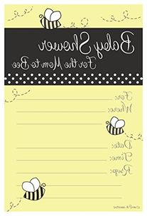 Bumble Bee Baby Shower Invitations - Fill In Style  With