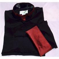 Burgundy Trim Black Rayon Silk Mandarin Collar Kung Fu