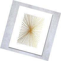 "Burst Lines Gold Foil Art Print 8x10"" or 5x7"" Abstract Hand"