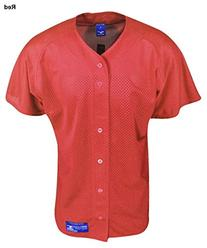 Mizuno Boy's Full Button Mesh Short Sleeve Baseball Jersey,
