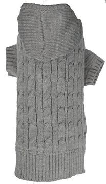 Lanyar Cable Sweater Hoodie, Large, Gray for Dogs