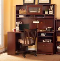 Cabot Corner Desk with Hutch in Harvest Cherry